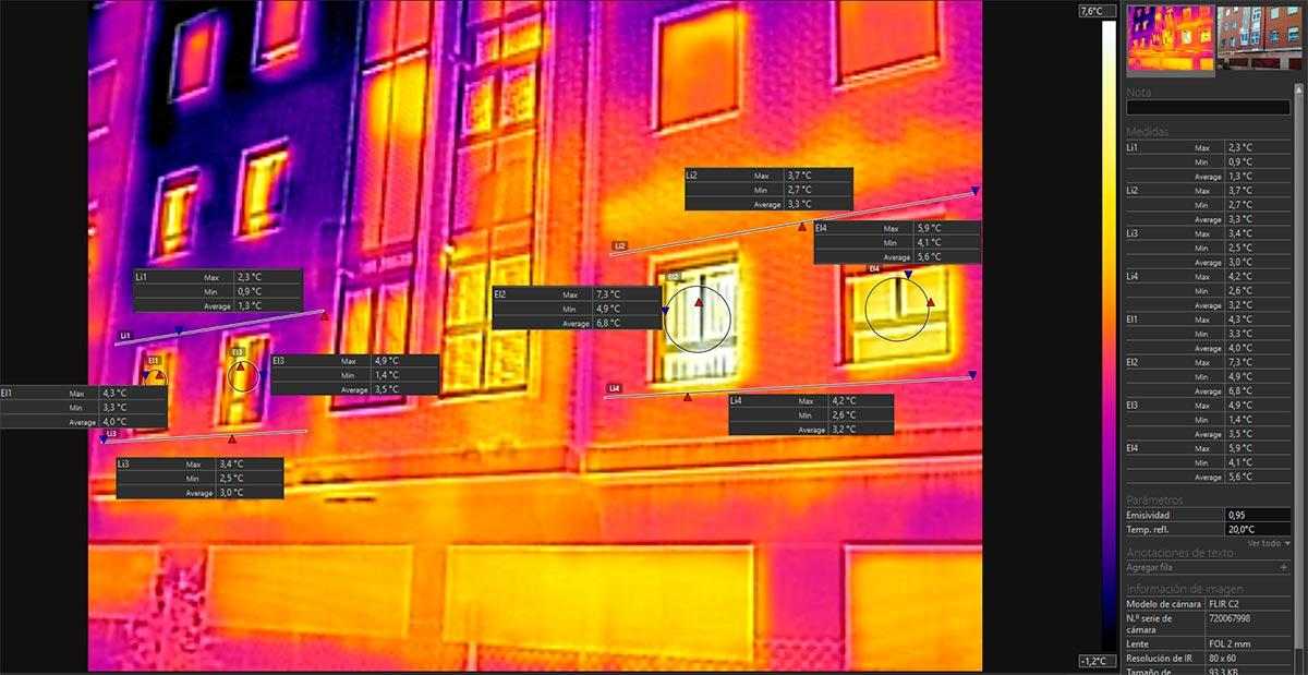 Diferencias térmicas entre una vivienda con una mejora de aislamiento térmico y otra si el aislamiento mejorado