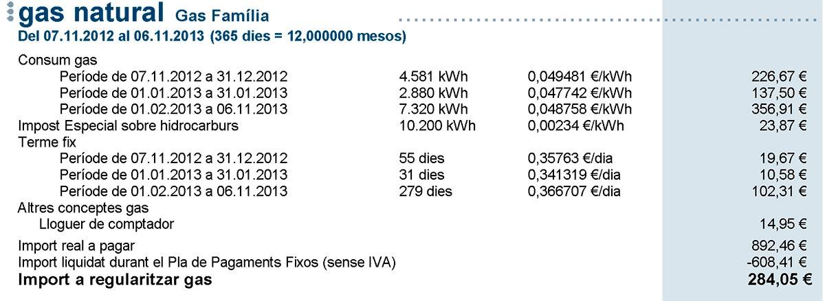 Mi factura de Gas Natural Fenosa de 2013