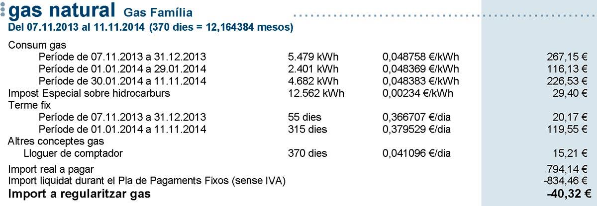 Mi factura de Gas Natural Fenosa de 2014