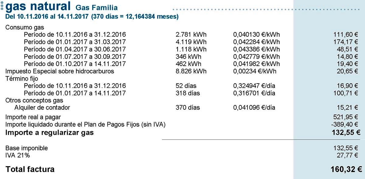 Mi factura de Gas Natural Fenosa de 2017