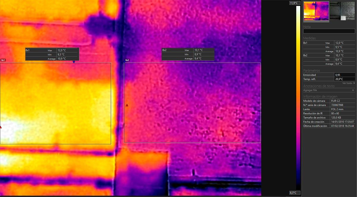 Imagen térmica del techo del parking proyectado con mortero ignífugo con lana de roca