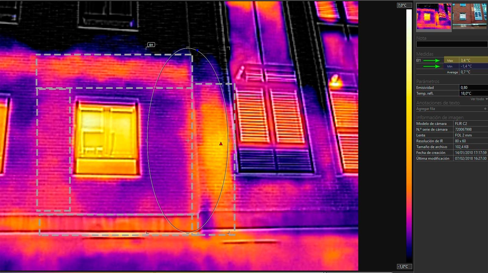 Foto exterior de las fugas de calor ocasionadas por los puentes térmicos